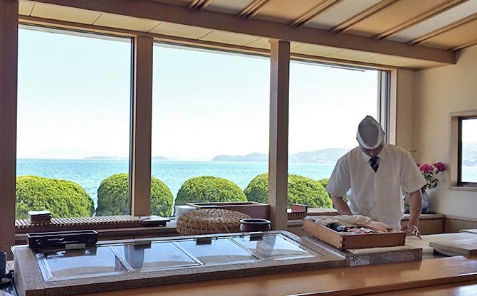 児島の絶景を眺めながらのおまかせにぎり